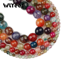 WLYeeS Natural Candy Color Beads Faceted Tourmaline carnelian 4 6 8 10 mm round Loose Bead for women Jewelry Bracelet Making DIY