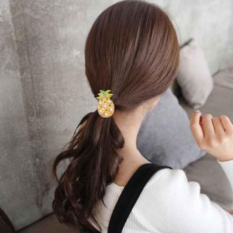 Wanita Korea Gadis Lucu Karet Band Akrilik Berwarna Nanas Pohon Kelapa Musim Panas Rambut Tali Manik-manik Mutiara Imitasi Ekor Kuda