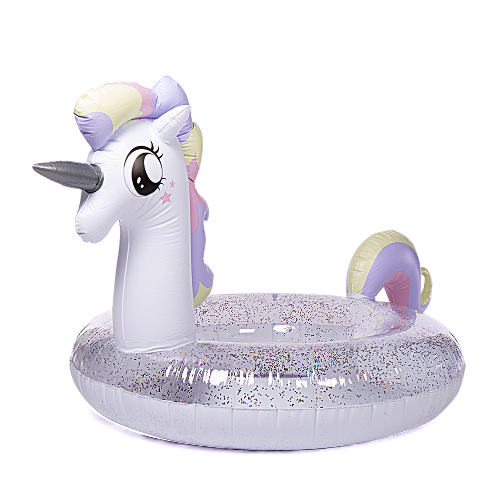 WISHTIME Giant Unicorn Swimming Pool Float 2019 Unicorn Princess Inflatable Pool Float With Glitters Inflatable Loung For Adults