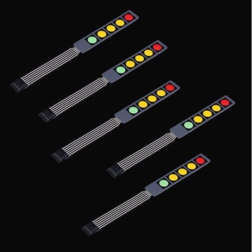 1x5 Matrix Array 5Key Red/Green/Yellow Membrane Switch Keypad Keyboard 1*5 Keys universal 4x4 16 key matrix membrane switch keypad keyboard 76x69x0 8mm