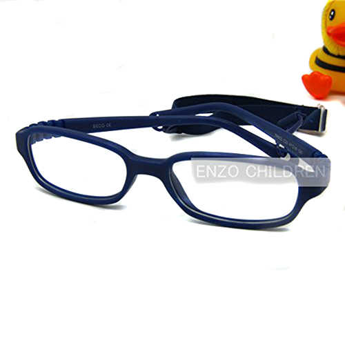 Kids Eyeglasses with Cord Size 47, Mira Flexible One-piece Children Glasses Frame Strap, No Screw Unbreakable Girls Boys Glasses
