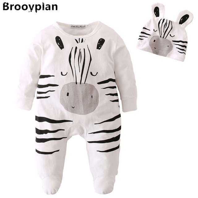 2a333671079c New 2018 Hot Sale Baby Boys Girls Romper Infant Long Sleeved Cartoon Zebra  Style Jumpsuit+Hat Newborn Toddler Baby Clothes