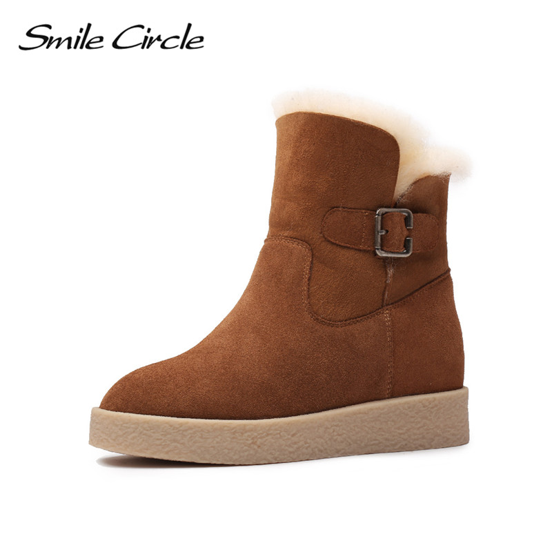 Sourire Cercle Hiver Chaussures Femmes Neige Bottes Coins Réel Fourrure Imperméable En Daim En Cuir Bottes Femmes Cheville Bottes plate-forme Chaussures
