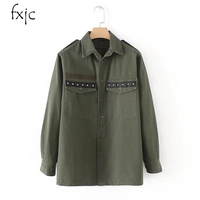 2018 New Women S Back Fringed Rivet Decorated Army Green Long Sleeved Shirt