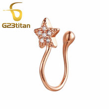 G23titan Fake Piercing Rings Rose Gold Crystal Star Ear Clip Ear Cartilage Earrings Cute Body Jewelry(China)