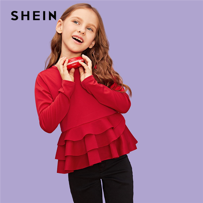 SHEIN Red Solid Layered Ruffle Hem Casual Girls Blouses Kids Shirts 2019 Spring Fashion Elegant Long Sleeve Shirts For Girls black boat neck long sleeves slit hem jumper