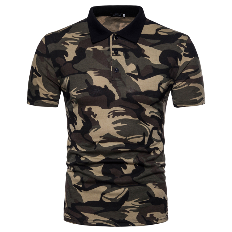 Men's Top Regular Gradient Print Breathable Cotton Short Sleeve 2018 Spring And Summer New Casual Camouflage Polo Shirt 36