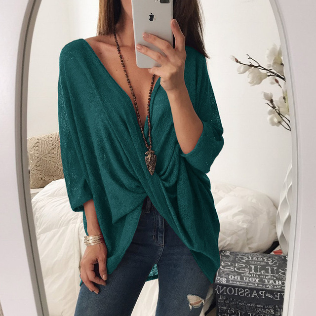 Sexy Women V-Neck Cross Bat Sleeve Knitted Sweater Casual Loose Tops