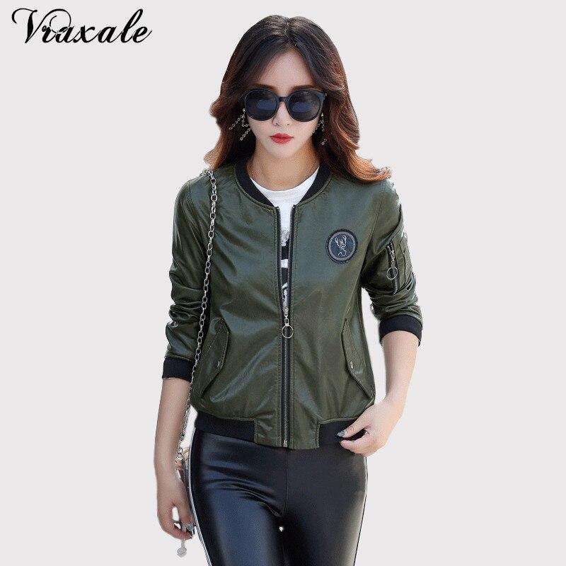 Vraxale осень 2017 г. Новинка зимы женские Большие размеры кожа модные  тонкие пальто женские кожаные куртки многофункциональная сумка Куртка  418288c9d5980