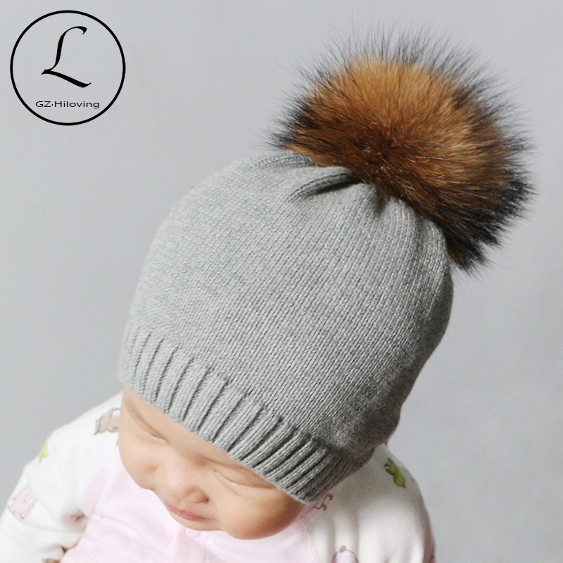GZHILOVINGL 2017 Winter Crochet Knitted Kids Cotton Beanies Hats Cap  Toddler Boys Girls Children Kids Brand Real Fur Pom Pom Hat 9acfdb4c3fd