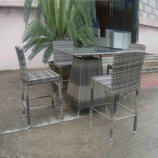5pcs Hand Woven Grey Rattan Bar Set , Resin Wicker Patio Bar Furniture