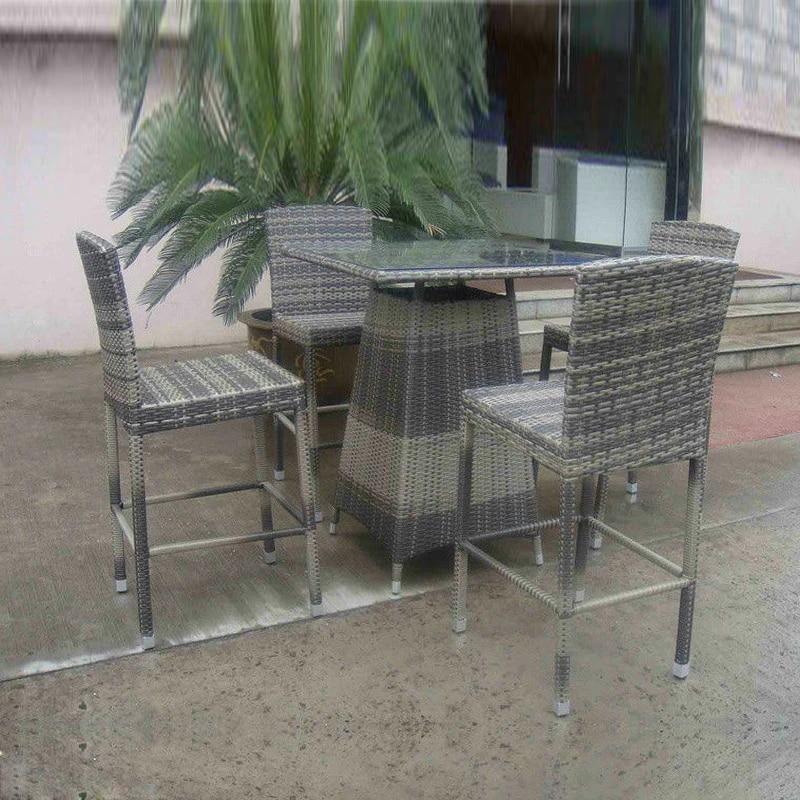 5pcs hand woven grey rattan bar set resin wicker patio bar furniture