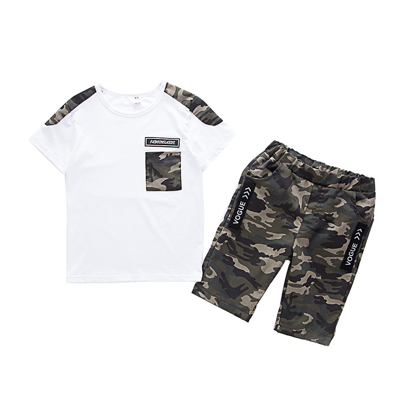 Summer Children Boy Clothes Sets Kids 2pcs Short Sleeves T-Shirt Suits Camouflage Shorts Child Clothing Suits FOR 12 14 16 YEARS fake necktie emblem pockets embellished shorts sleeves shirt for men