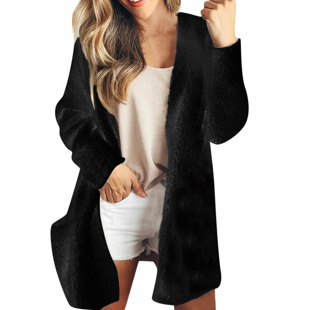 KLV S-2XL женские пальто Повседневная Толстовка длинный рукав однотонный зимний теплый шерстяной кардиган с карманами длинное пальто верхняя одежда черный белый z1023
