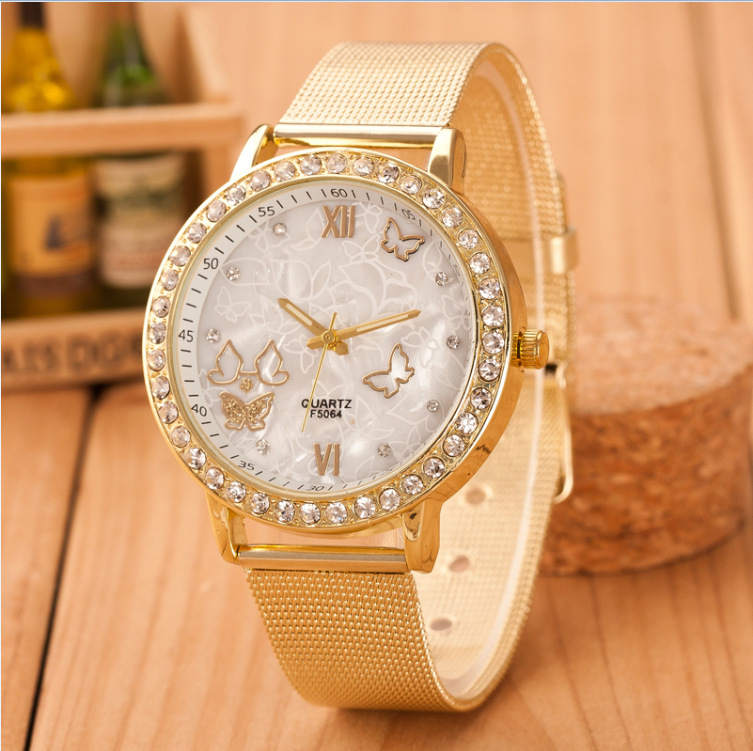 reloj mujer 2018 New Luxury brand Geneva Crystal  Women Quartz Watch Ladies Golden Stainless Steel butterfly Watch Casual Clock
