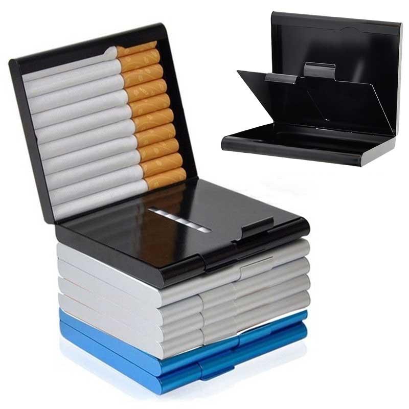 20pcs Cigarette Cigar Tobacco Holder Case Slim for Men & Women Metal Cigarette Case Container Pocket-box Fashion Portable Pipe
