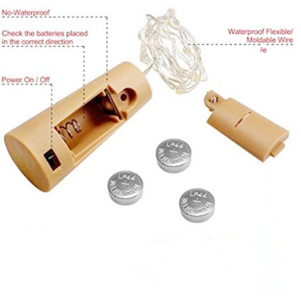 cc26174a373 Cadena de luz LED 2 M impermeable alambre de cobre luz batería botella de  corcho lámpara para botella DIY Decoración de fiesta de boda en Tiras de  luces de ...
