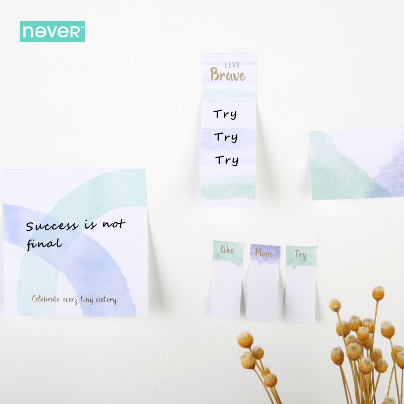 Never Watercolor Collection Sticky Notes Set Memo Pad Set Post Diary Stickers Kawaii Stationery Office And School Supplies