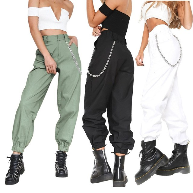2018 Fashion Women Chains High Waist Pocket Cargo Pants Female Solid Cool Hip Pop Harem Pants Causal Fitness Streetwear Trousers