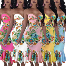 S-2XL new women sexy rufffles strapless dress lady  floral print summer pencil holiday casual leisure midi