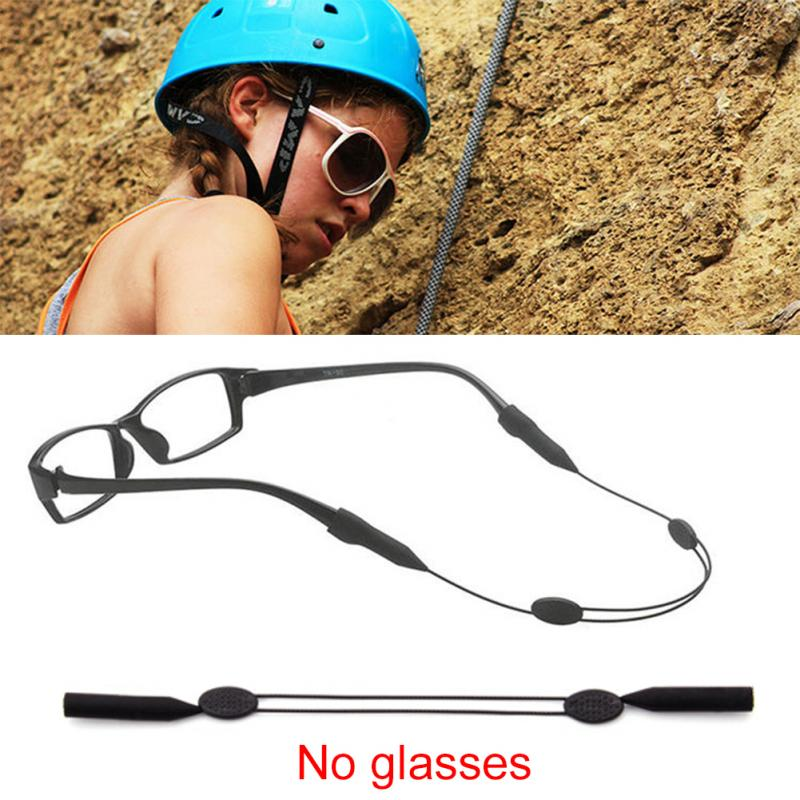 1 Pcs Black Color Elastic Silicone Eyeglasses Straps Sunglasses Chain Sports Anti-Slip String Glasses Ropes Band  Holder