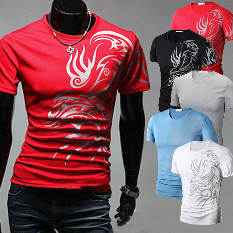 Fashion Summer Men T-Shirt Short Sleeve O Neck Chinese Style Printing Tops Comfortable Man Casual T-Shirts FDC99
