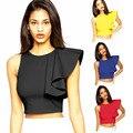 2016 New Black Yellow Women Short Crop Top Asymmetric Ruffle Single Shoulder Fashion Zipper Back Tank Top Women Tops