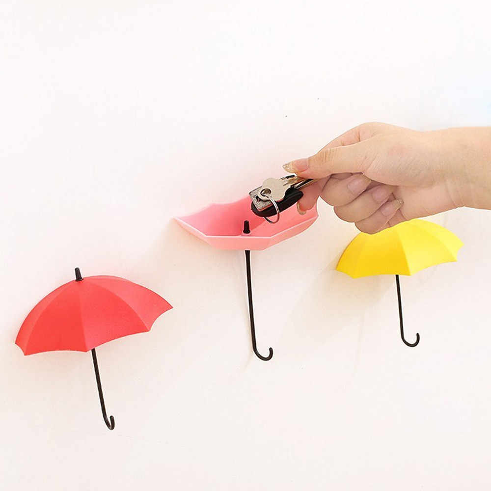 3 unids/set bonito paraguas soporte de pared gancho de pared organizador percha duradero
