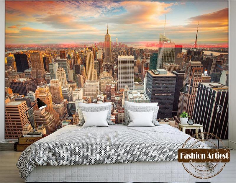 Custom 3d Modern City View Wallpaper Mural New York Sunrise Scenery Tv Sofa Bedroom Living Room