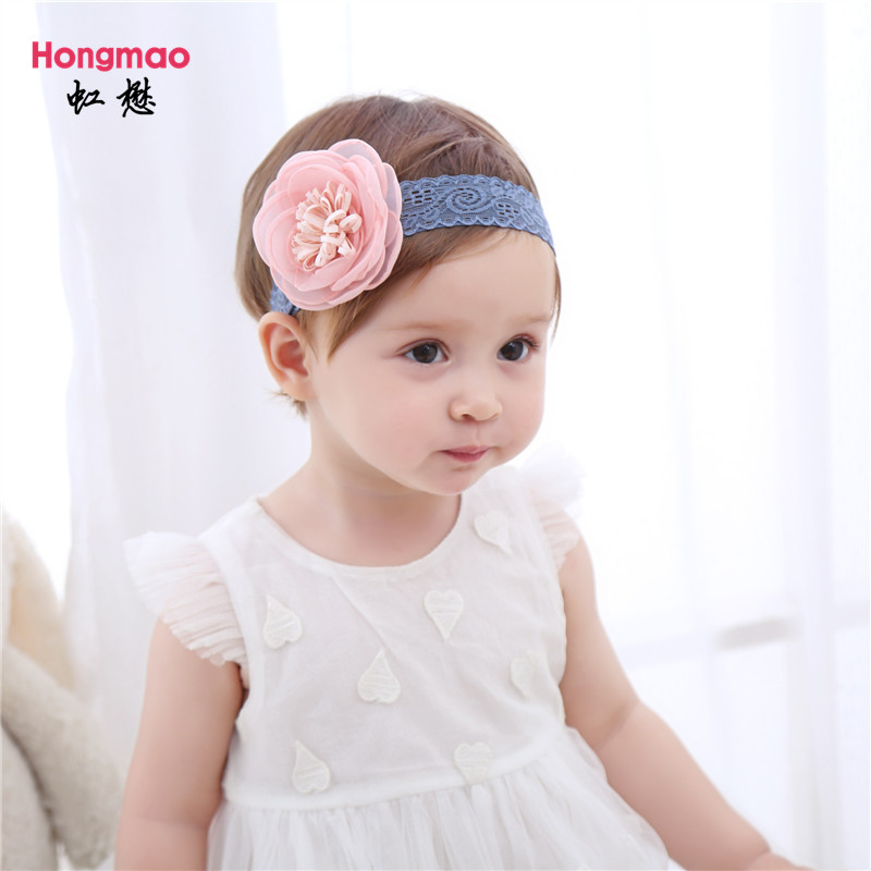 ON SALE 1PCS 2017 Children's hair accessories baby Flower Headband elastic hair band girls photo props Lace head band metting joura vintage bohemian ethnic tribal flower print stone handmade elastic headband hair band design hair accessories