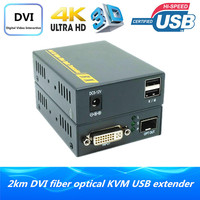 ZY THF123DKM 4K DVI Over Fiber Optic Converter 2km With No Delay Loss Supported Keyboard And Mouse DVI Optical USB KVM Extender