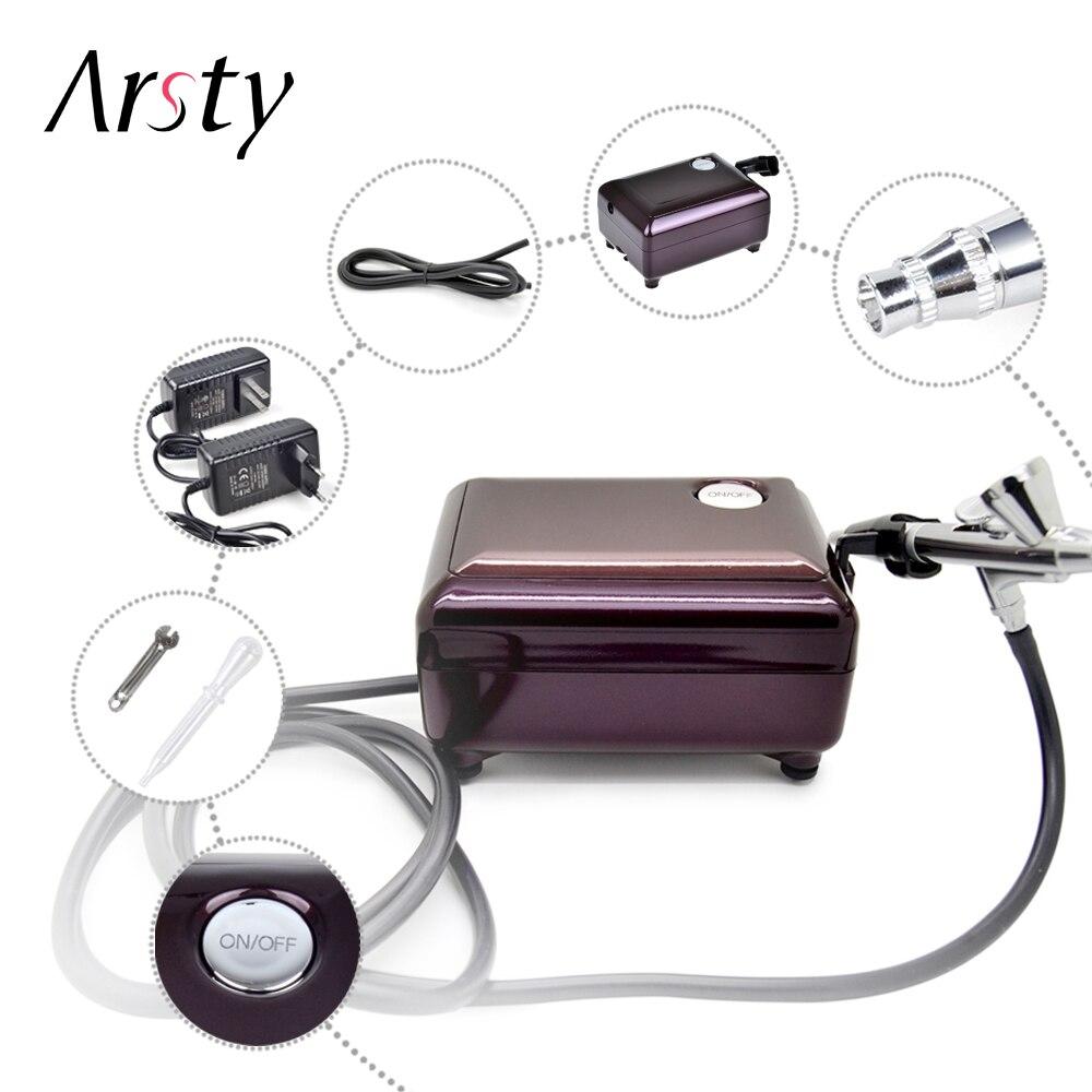 ARSTY aerógrafo compresor Kit portátil tatuaje, hacer 3 velocidades ajustable del tatuaje para uñas y pastel de pintura