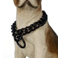 Large Black Dog Collar, 19mm Heavy Stainless Steel Fierce Dog Training Choke Cuban Link Miami Chain Pet Training Necklace
