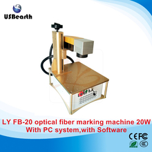 LY new table all in one FB20 optical fiber laser marking machine 20W built-in PC system & software with rotary axis,free to EU
