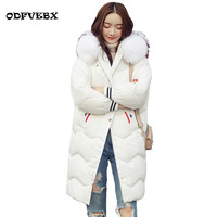 2019 brand white duck down jacket female thicken loose coat ladies medium long hooded color fox fur collar winter new coat women