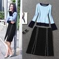 2016 das mulheres de inverno cores Misturadas camisola azul + Rebites dividir saia terno feminino de luxo sexy duas peças saias define com colheita top