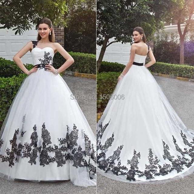 ec2ed8c5d007 Unique Designer White Ball Gown Wedding Gowns With Black Appliqued  One-shoulder Organza Sleeveless Court train Bride Dress szj39