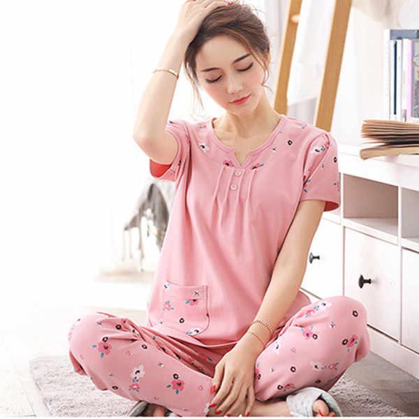 2017 Nova Impressão Pijama de Algodão Das Mulheres Plus Size Primavera Verão Conjuntos de pijama Para Senhoras Pijamas de Manga Longa Sleepwear Menina M-3XL Q122