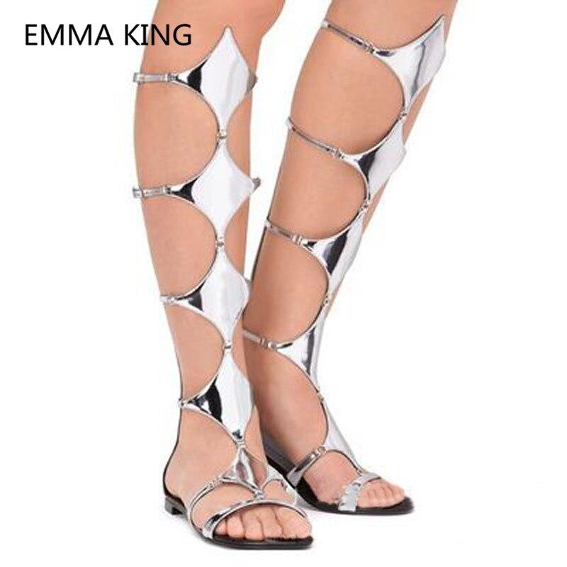 Zilveren Ruit Vrouwen Knie Hoge Platte Sandalen Open Teen Cut Out Casual Trendy Designer Schoenen Vrouw Zomer Gladiator Sandalen laarzen