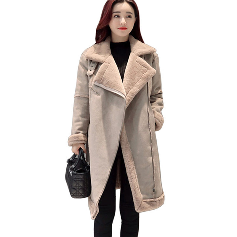 где купить Lambs Wool Suede Jacket Long Winter Coat Thicken Cotton Wadded Winter Jacket Warm Parka Abrigo Mujer Overcoat Maxi Coats C3627 по лучшей цене