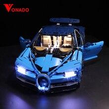 مجموعة مصباح ليد متوافق مع ليغو 42083 20086 بوجاتي تشيرون تكنيك سباق السيارات ألعاب مكعبات البناء الهدايا (ضوء فقط + صندوق بطارية)