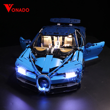 Led אור סט תואם לגו 42083 20086 בוגאטי כירון טכני מירוץ רכב אבני בניין צעצועי מתנות (רק אור + סוללה תיבת)