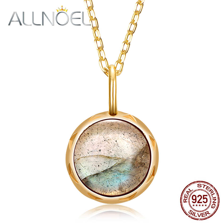 ALLNOEL Solid 925 Sterling Silver Pendants Necklace For Women 1.3ct Real Natural Labradorite Gemstone Engagement Wedding Jewerly