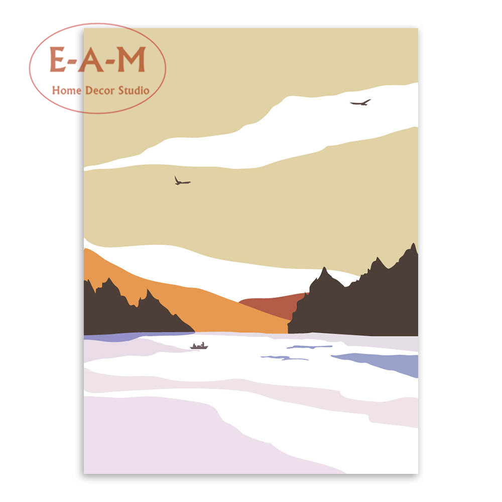 E A M Nordic Snow Mountain Canvas Art Print Painting Poster Wall ...