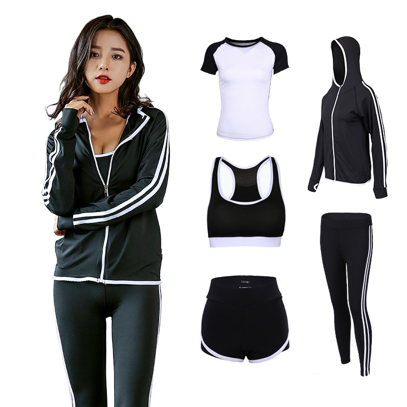 Girls 5 Items Health Go well with Coaching Feminine Health club Exercise Clothes Yoga Set Shirt+Pants Breathable Yoga Leggings Sport Go well with Yoga Units, Low cost Yoga Units,...