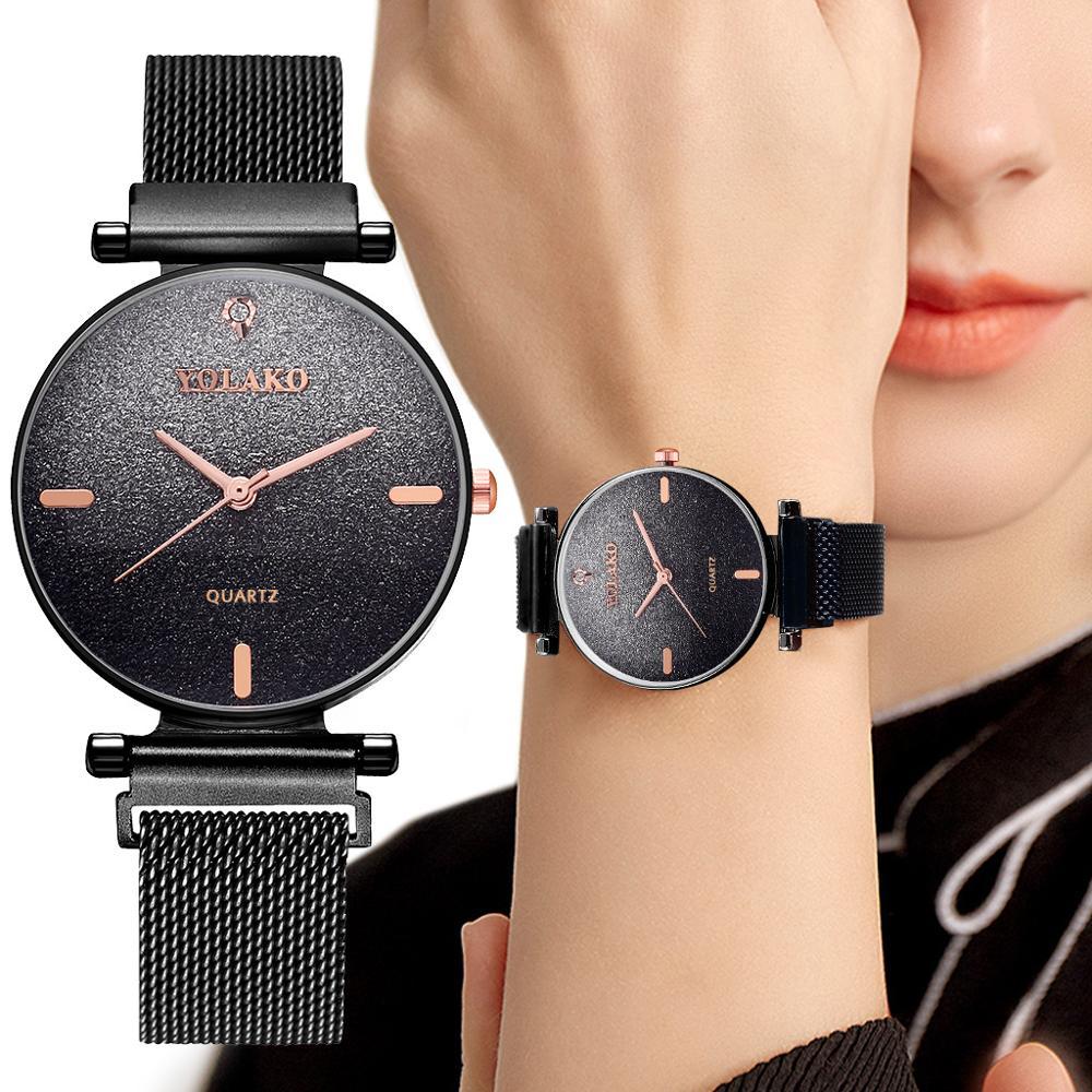 Minimalist Style Watch Ladies Dress Quartz Watch Black Women Starry Sky Magnetic Watches For Women Diamond Waterproof Clock Gift in Women 39 s Watches from Watches