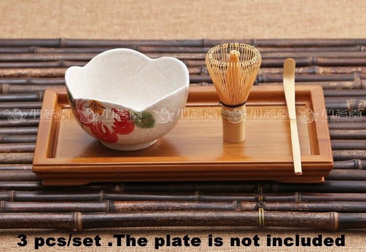 3pcs set 80 prongs bamboo whisk bamboo scoop matcha bowl japanese tea tool sets chasen bamboo
