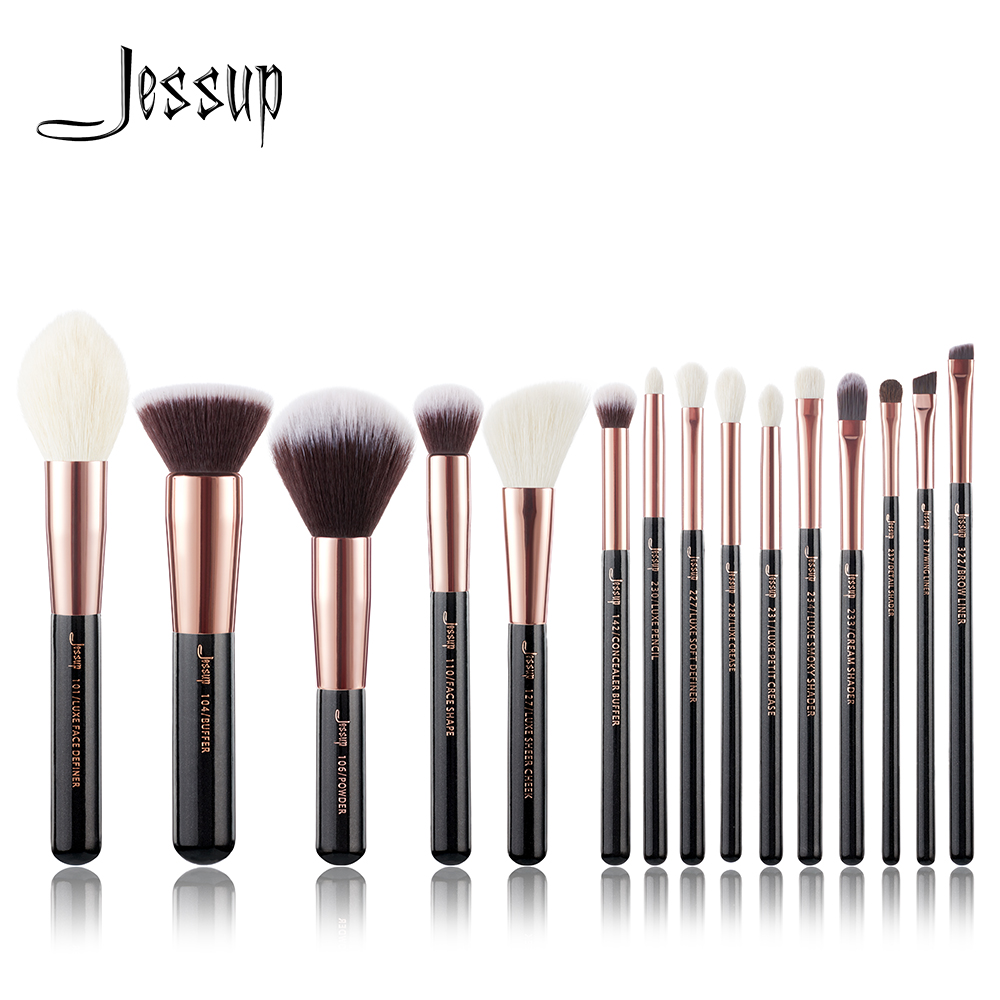 Jessup brushes Rose Gold / Black Professional Makeup Brushes Make up Brush set Cosmetics Foundation Powder Definer Shader Liner цена