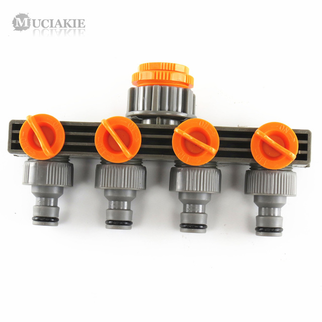 "MUCIAKIE 1"" to 3/4"" to 1/2"" Female Thread 4 Way Hose Splitters for Automatic Watering Pipe Linker Timer Garden Irrigation"
