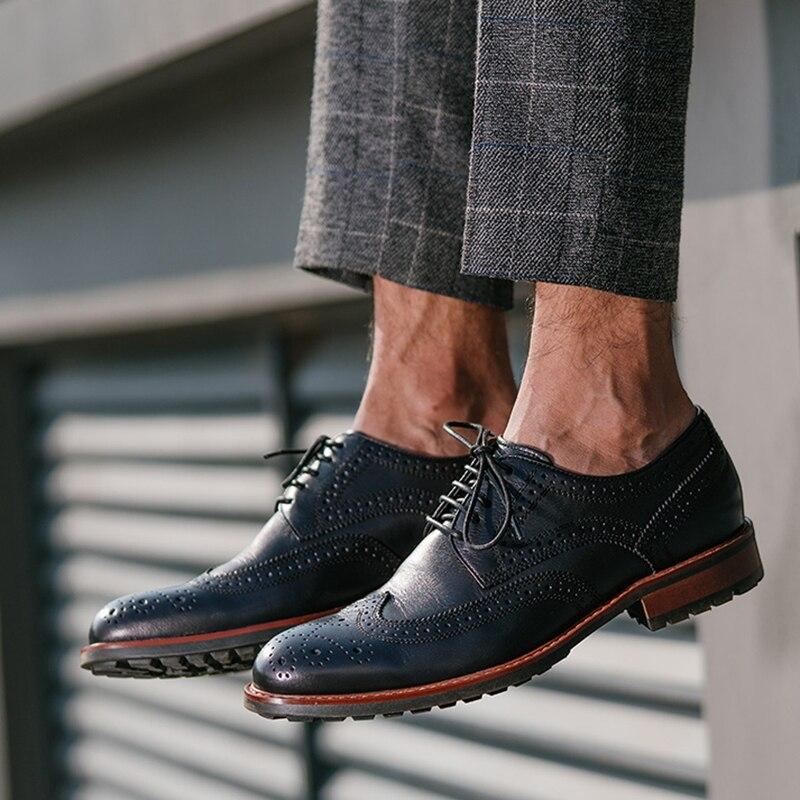 Caballero Los Lazo Pisos Zapatos Hombres Del Dedo Brogue Negro Hombre Nuevo Cuero Artesanal Redondo Para Punta Casuales Genuino Derby Pie Ss491 De marrón Vintage qZf6WAwWR